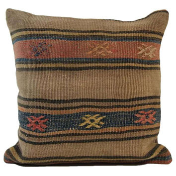 Karissa Brown/Black Striped Pattern Kilim Pillow Cover