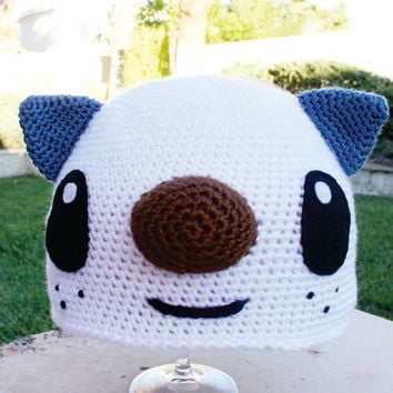 Oshawott Sea Otter Inspired Hat: Pokemon -ish Cartoon Kawaii Handmade Crochet Beanie Hat