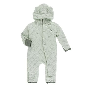 Kickee Pants Kenya Collection Solid Quilted Hoodie Coverall with Sherpa Lined Hood