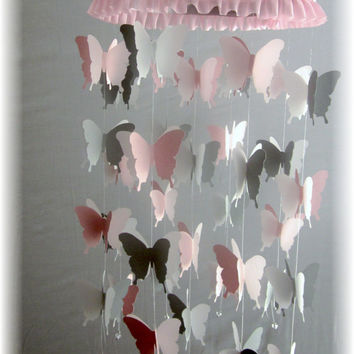 Pink and Grey Butterfly Mobile - Pink and Grey Nursery Bedding, Nursery Decor, Baby Shower Gift, Wedding Mobile, Sabby Sheek