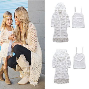 Matching mother and daughter clothes summer2017tassel jacket + harness family matching clothes family look for mom with daughter