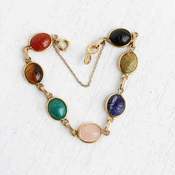 Vintage Scarab Bracelet - 12K Gold Filled Semi Precious Stone Egyptian Revival Signed Winard Jewelry / Tiger's Eye, Chrysoprase, Carnelian