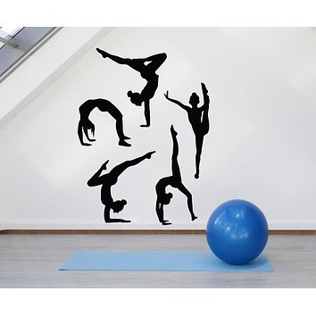 Vinyl Wall Decal Silhouette Gymnasts Gymnastics Sports Athlete Girls Stickers Mural (g436)
