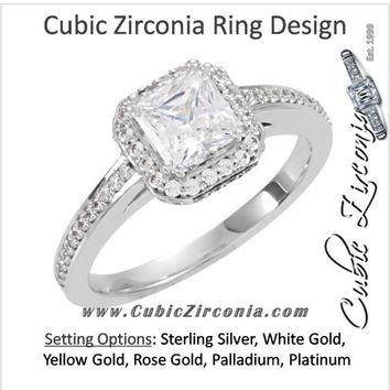 Cubic Zirconia Engagement Ring- The Tina (Princess-Cut Halo-Style with Pave Band)