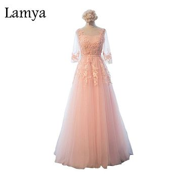 Lamya Half Sleeve Lace Up back Flowers Appliques Pink Customized Long Prom Dress Elegant Party Dress Special Occasion Dress