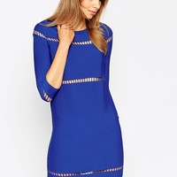 ASOS A-Line Dress in Structured Knit with Ladder Stitch Detail