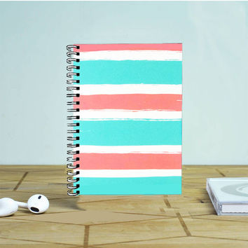Blue Coral Colorblock Stripe Photo Notebook Auroid