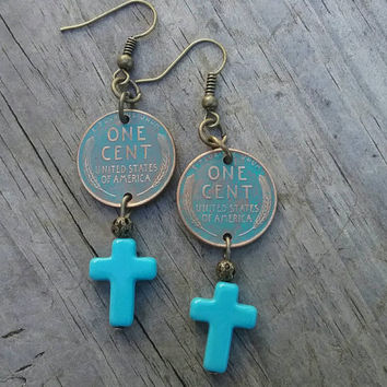 Wheat penny coin earrings. One cent dangle earrings. Turquoise cross dangle earring. Unique dangle earrings.