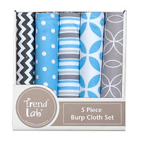 Trend Lab Logan 5 Pack Burp Cloth Bundle Box Set - Baby - Baby Feeding - Bibs & Burp Cloths