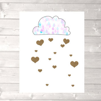Rain heart clouds print, childrens wall art, nursery room wall art, glitter gold heart, kids wall art, kids room decor, nursery room print