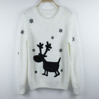 White Snow Deer Mohair Pullover Sweater