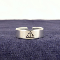Harry Potter - Deathly Hallows - Adjustable Aluminum Cuff Ring
