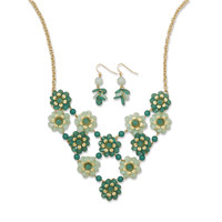 Green Flower Bouquet Fashion Necklace and Earring Set