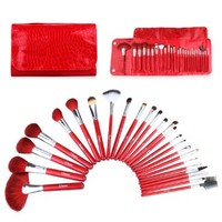 2014 New Ovonni® 26pcs Plus Superior Professional Soft Cosmetic Makeup Brush Set +Hot Red Leather Bag Case