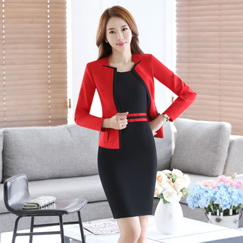 New Fashion Long Sleeve Work Wear Suits With Jackets And Dress for Business Women Professional Uniforms Outfits Blazers Set