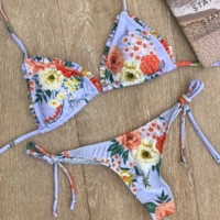 Summer new fashion floral print sexy straps two piece bikini swimsuit Blue