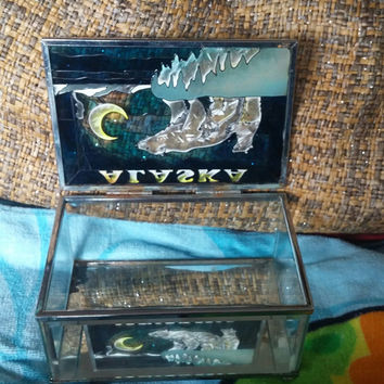 Alaska Stained Glass Trinket / Jewelry / Vanity Box With an Image of a Polar Bear Mama and Two Cubs on Ice Cliff