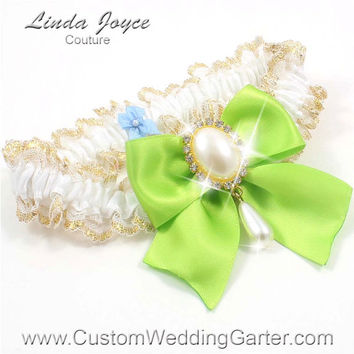 White and Apple Green WEDDING GARTER Gold Bridal Lace Garter 112 White 550 Green Yellow Prom Garter Plus Size & Queen Size Available too