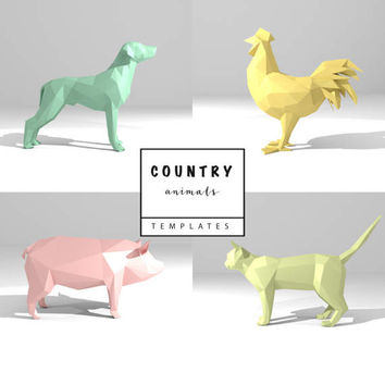 Set of 4 Printable DIY templates (PDF). Country Animals  paper models: Dog, Cat, Rooster, Pig. 3D animal paper sculpture. Origami.