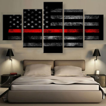 5 Panel Canvas Wall Art Blue Lives Matter, American Flag and much much more