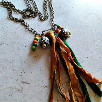 Long sari silk tassel necklace, long boho gypsy chic, autumn colors, silk ribbon pendant, Indonesian beads