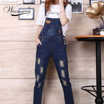 Womens Jumpsuit Denim Overalls 2016 Spring Autumn Casual Ripped Hole Loose Pants Pockets Jeans Coverall vaqueros mujer JP-003