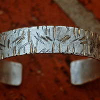 Gift for Him, Silver Filled Cuff Bracelet, Woodgrain Texture, Distressed Sterling Brass Cuff, Worn & Beaten, Textured Cuff, Slashes