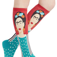Nifty Nerd Frida Be Me Socks in Red and Teal by ModCloth
