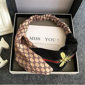 GUCCI Fashion Retro Double G Letter Red Green Stripe Bee Embroidery Cross Headband Hair Band Khaki I12539-1