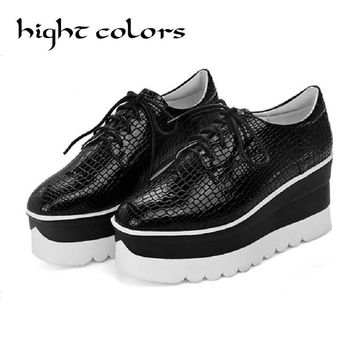 Black White Womens Punk Chunky New Oxfords Lace up Wing Tip Platform Wedge Heel Pumps High Heel Shoes Woman Students Casual Shoe