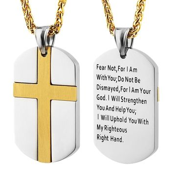 Isaiah 41:10 Jewelry, Stainless Steel cross Dog Tag Necklace STRENGTH Bible Verse