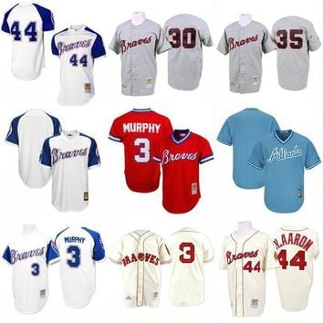 Atlanta Braves Throwback Jersey Cooperstown Collection Mens 3 Dale Murphy 30 Orlando Cepeda 35 Phil Niekro 44 Hank Aaron Baseball Jerseys