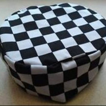 Manita Black/White Check Poly Cotton Chefs/ Kitchen Cooking Skull Cap Hat, One Size