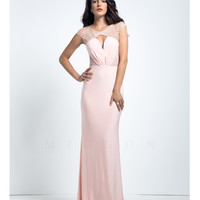 Mignon VM1480B Beaded Cap Sleeve Pink Gown Prom 2015