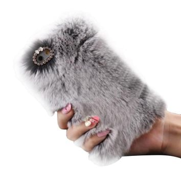 Luxury Crystal Bling Case Winter Warm Fluffy Villi Fur Plush Wool Bling Case Cover Skin For iphone 7 4.7inch