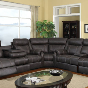 3 pc Rummy collection charcoal leather air upholstery with recliner ends sectional sofa