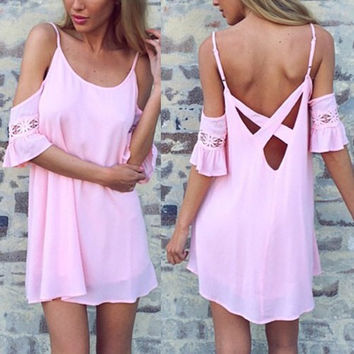 Pink Spaghetti Strap Backless Mini Dress