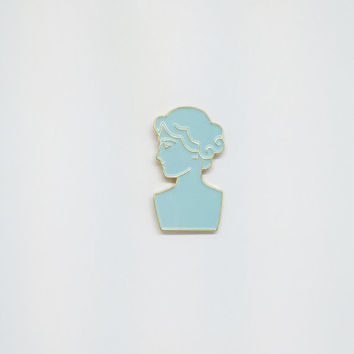 Roman Bust Enamel Pin in Blue