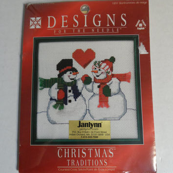 "Counted Cross Stitch Kit Snow Folks Janlynn Winter 14 ct. Needlework NIP 6"" x 6"""