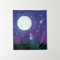 Cat Under The Moonlight Tapestry