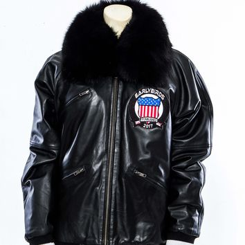 Leather Bomber Jacket with Fox Fur Mens