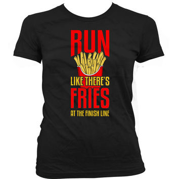 Funny Running Shirt Run Like There's Fries At The Finish Line Running Clothing Gifts For Her Marathon Shirt Food Lover Ladies Tee WT-29