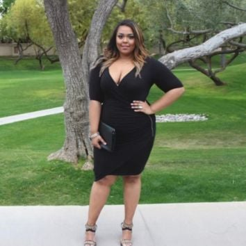 Plus Size Sexy Black Plunge Wrap Side Zip Casual Party Dress