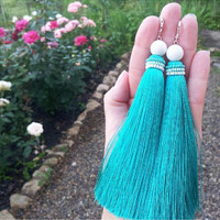 Summer Sale Mint Silk tassel earrings  Boho Glam Jewelry Bohemian Jewelry Turqouse  Long Tassel Earrings   statement accessory