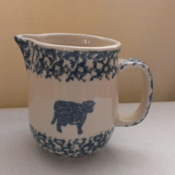 Tienshan Pottery Folk Craft Sponge Blue Cow Heart Creamer Collectible Porcelain
