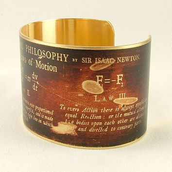 Math Jewelry - Sir Isaac Newton - Laws of Motion - Mathematician Steampunk Style Brass Cuff Bracelet