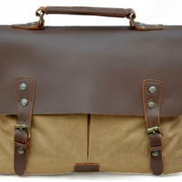 Casual Canvas Genuine Leather Messenger Bag