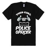This girl loves her police officer-Unisex Black T-Shirt