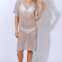 Be Breezy Crochet Tunic Taupe