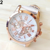 New Popular Men's Women's Fashion Geneva Roman Numerals Faux Leather Analog Quartz Wrist Watch = 1932233604